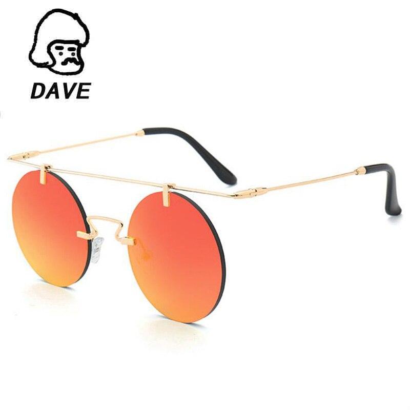 DAVE Retro Steampunk Ženy Muži Rimless sluneční brýle Značka Designer Round Metal Retro Vintage Sluneční brýle Pánské brýle UV400