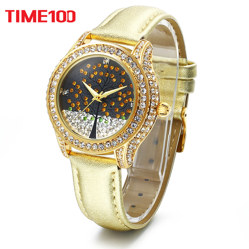 Time100 Women's Watch luxury Quartz Watches Rhinestone Wishing Tree Ladies waterproof Leather Strap WristWatch relogio feminino top luxury crystal brief design lady elegance slim strap leather wristwatch waterproof women quartz watch relogio feminino gift