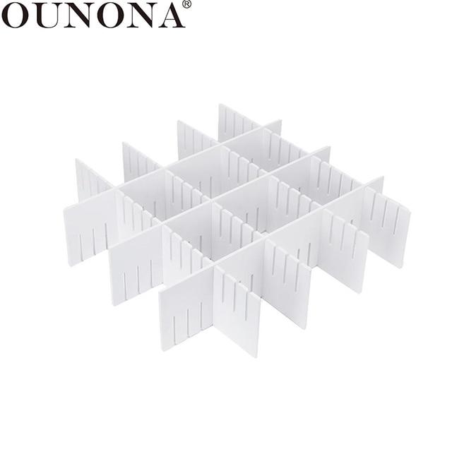 OUNONA 5pcs Plastic Drawer Divider Household Storage Spacer Free Arrangement Drawer Partition for Cosmetics Socks Underwear