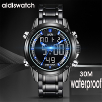 Men Sport Watch Relogio Masculino Electronic Military Luxury LED Male Clock Casual Brand dual display Wrist Watches For Men 2018