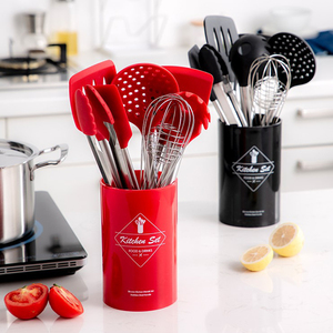 Image 5 - Stainless Steel+Silicone Cooking Utensil Kitchen Tools Turner Soup Spoon Strainer Pasta Server Egg Beater Spatula Food Tongs Red