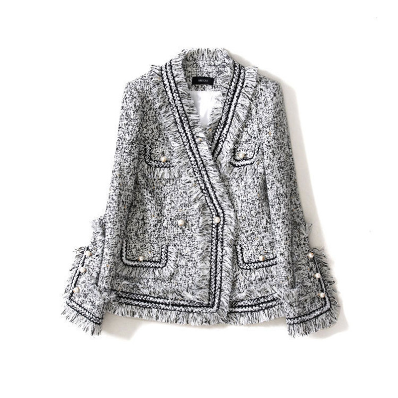 Handmade Luxury Blazer Suits For Women Fashion Lattice Tweed Tassel Pearl Button V Neck Short Blazers Coat Grey