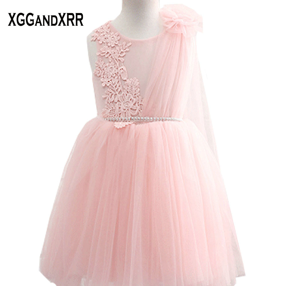 Hot Sale Pink Tulle Ball Gown Flower Girl Dresses 2018 Scoop
