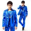 ( jacket + pants + vest ) hombres azul trajes remache bailarín cantante vestido performance show ropa del club nocturno pantalones al aire libre use bar fiesta
