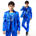 (jacket+pants+vest) men blue rivet suits dancer singer dress performance show nightclub clothing pants Outdoors wear bar party