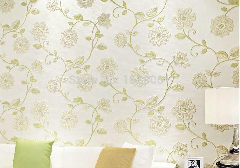 European Simple Wallpaper Green Leaf Design Non Woven Wallpaper