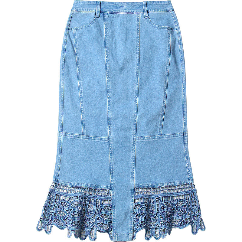 2018 new arrival summer denim skirts stitching lace skirt overknee large size women step skirts NW18B2610 in Skirts from Women 39 s Clothing