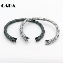 new cameo Dragon bangle men Antique silver color 316L Stainless steel fashion accessories CARA0542