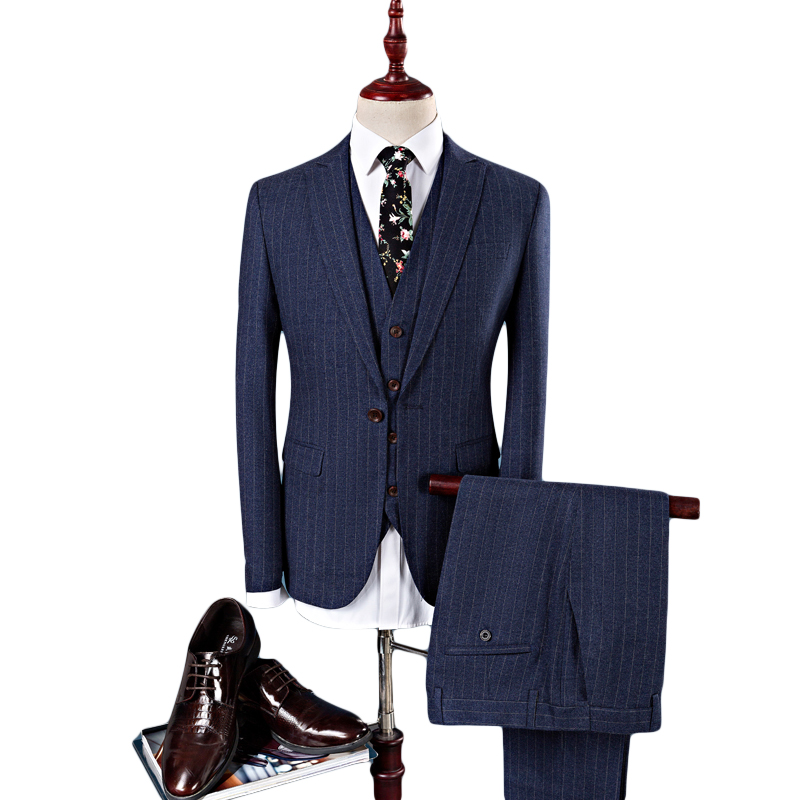 Formal Suit for Men Suit+trouser+vest Stripe Wedding Dress Three Piece Suit Formal Wear  ...