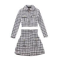 LE PALAIS VINTAGE 2018FW Classic Tweeds Suits Women Short Jacket with Shoulder Pad And Slim High Rise A line Skirt