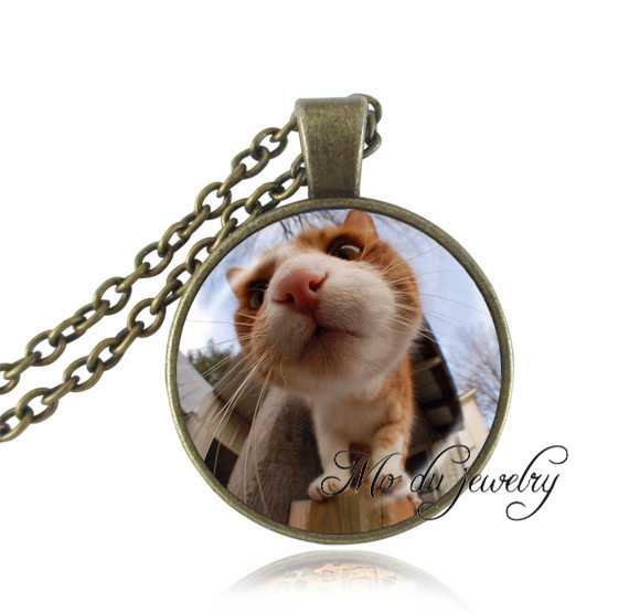 Lovely cat necklace big cat head picture active orange animal jewelry glass dome pendant bronze necklace pet cat jewellery gifts