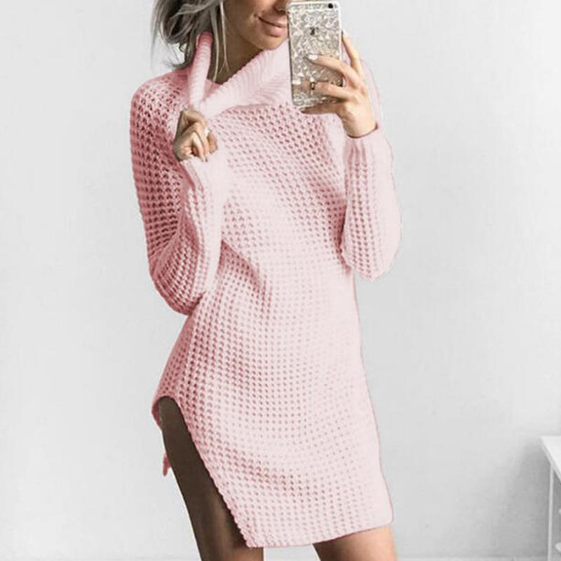Autumn Winter Fashion Women Long Sleeve Turtleneck Sweater Dress Knitted Sexy Side Split Dresses Pullovers Dresses WS2806O