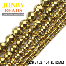 JHNBY Faceted Round Hematite beads 2/3/4/6/8/10mm Natural Stone ore Gold 8 colors Loose ball Jewelry bracelets Making DIY