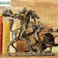 Ancient Roman Knights Sculpture European Retro Resin Ornaments Character Armor Warrior Statue Home Desktop Decoration Figurine