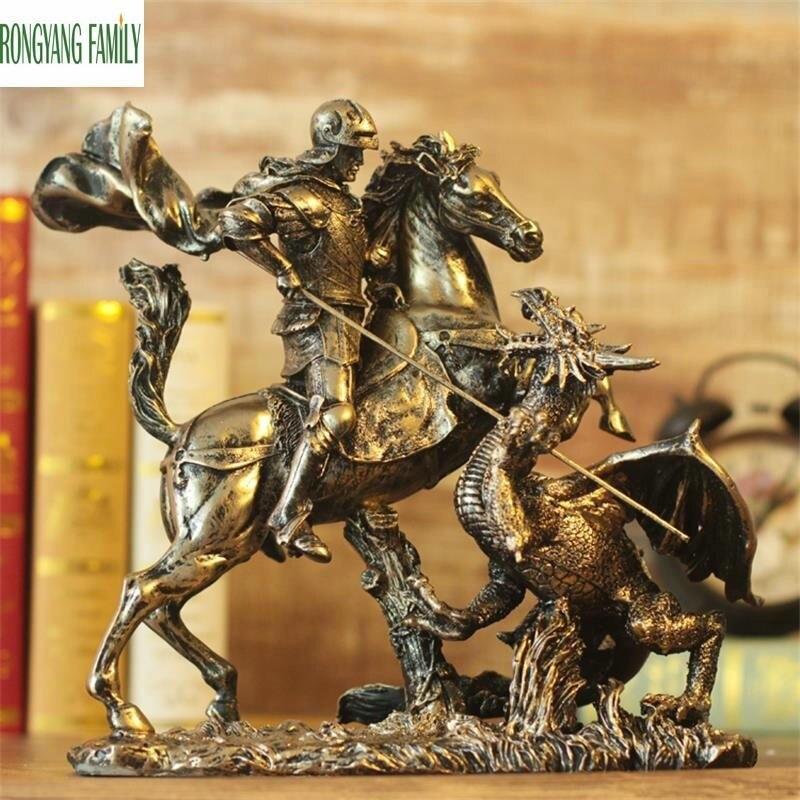 Romano antigo Escultura Cavaleiros Retro Europeia Resina Ornamentos Caráter Armadura Guerreiro Estátua Estatueta Decoração Desktop Em Casa