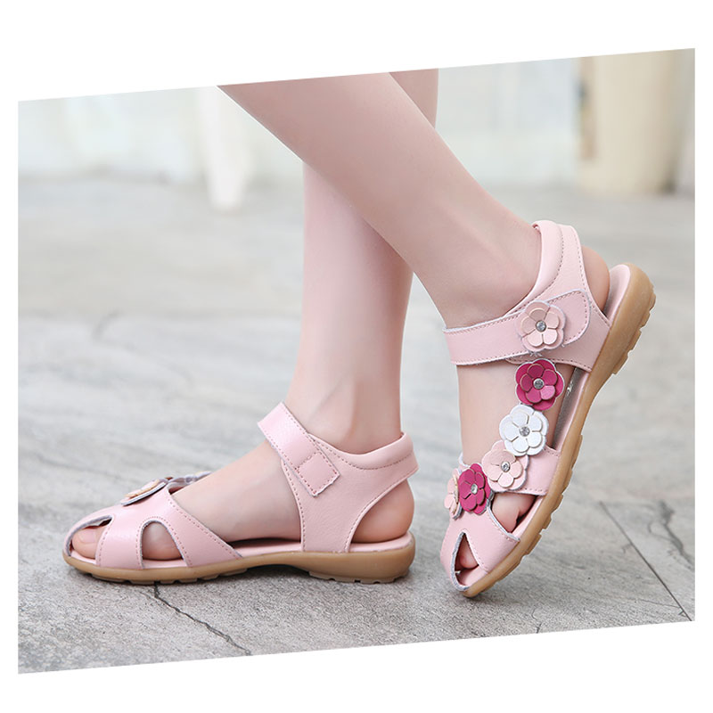 67adf9885626 Detail Feedback Questions about New Summer Genuine Leather Sandals For  Girls Diamond Flower Decoration Princess Baby Shoes Children Leather Shoes  Sandalias ...