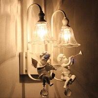Nordic kreative kinder schlafzimmer schlafzimmer wandleuchte Amerikanischen einfache spiegel scheinwerfer Europäischen nacht wohnzimmer doppelköpfigen-in LED-Innenwandleuchten aus Licht & Beleuchtung bei