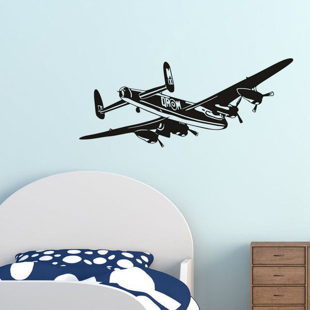 Captivating Bomber Aeroplane Vinyl Wall Stickers Airplane Wall Decals Decor For Boys  Room Removable Waterproof Wallpaper Mural