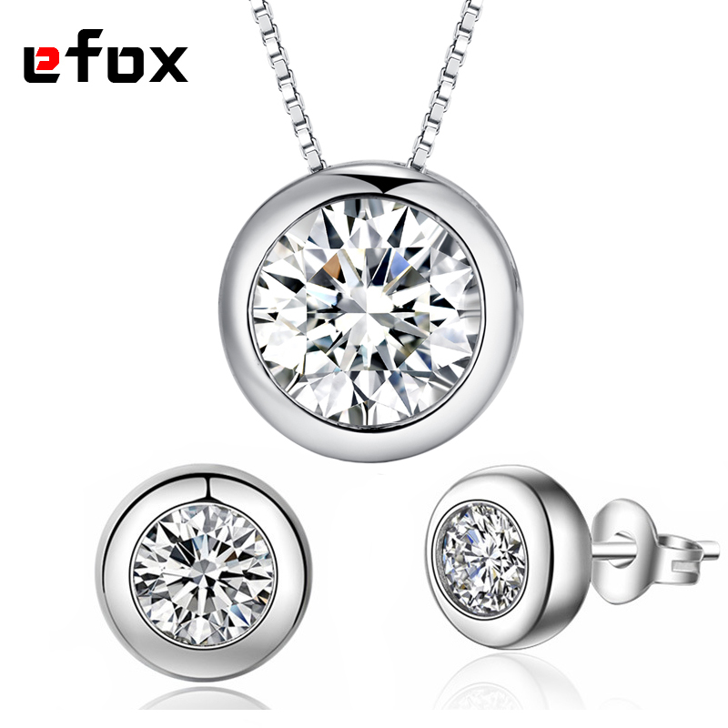 High Quality 1 Carat Dazzling CZ Diamonds Round Design Wedding Jewelry Set Necklace Pendant / Earrings