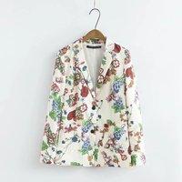 Floral Women Blazer 2017 Spring Autumn Long Sleeve Single Breasted Notched Collar Blazer Feminino Ladies Coat