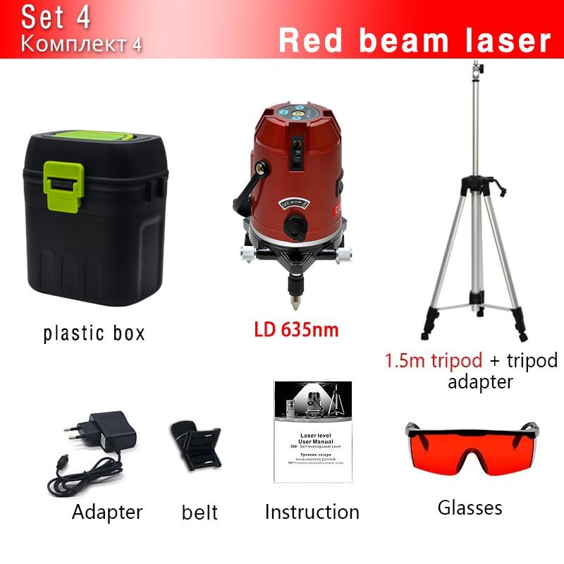 CLUBIONA зеленый и красный луч линии 360 градусов Поворотный наружный режим-приемник и наклон slash доступен автоматический линейный лазерный уровень - Цвет: 05RCN-RR and Tripod