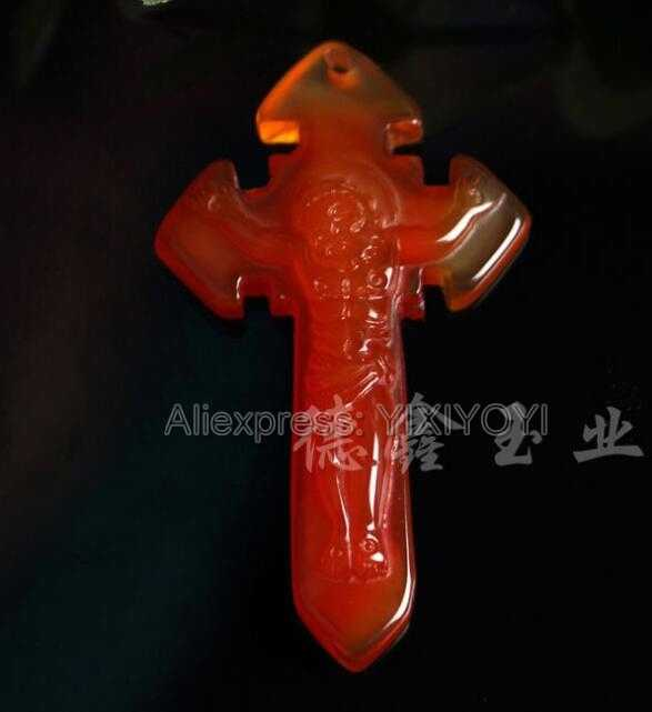 Beautiful Chinese Natural Yellow Red White Agate Jade Carved Blessing Jesus Cross Lucky Pendant + Rope Necklace Fine Jewelry