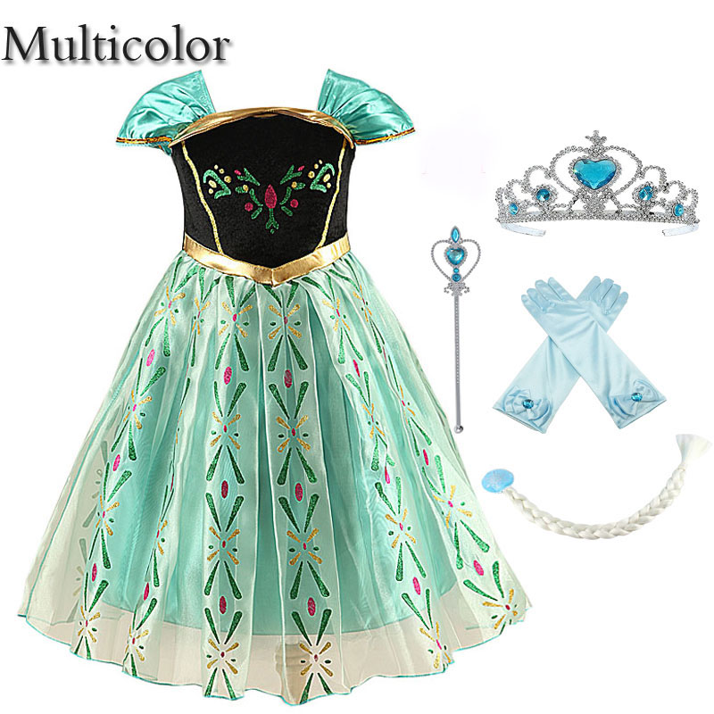 Multicolor Girls Clothes Dress For Girls Costumes kids Cosplay party Dress princess Anna dresses fantasia elza vestidos