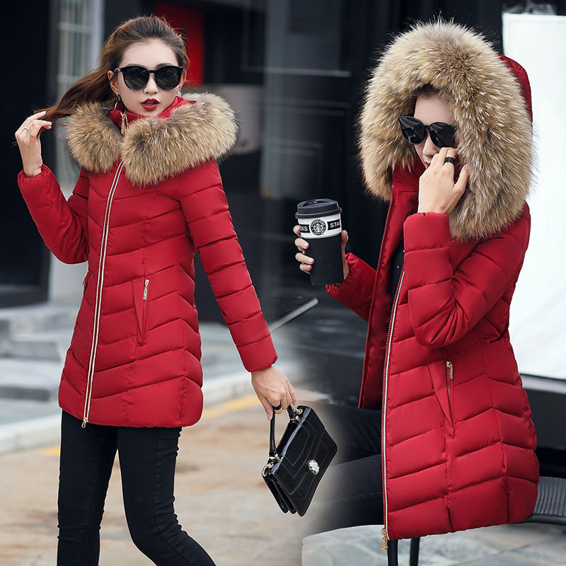 Winter jacket women fashion 2018 parkas mujer new long coat female jacket thick hat collar big fur collar Women's winter coats