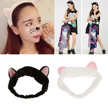 2pcs Cute Cat Ear Stretch Makeup Face Washing Shower Mask Hairband Snood Headband Headwear Accessories