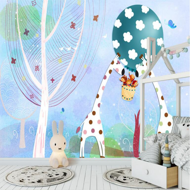 Wall Paper for Kids Room Cute Cartoon Forest Giraffe Children Room Mural Wallpaper Non-Woven for Kids Room TV Background Wall детские кроватки forest lovely giraffe качалка