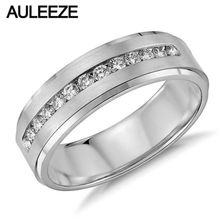 Fashion Solid 14K 585 White Gold Wedding Ring Moissanites Lab Grown Diamond Channel Set Engagement Ring For Mens Fine Jewelry
