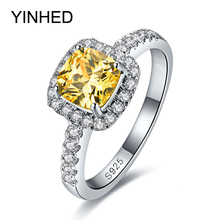 YINHED 100 925 Sterling Silver Engagement Ring 3 Carat Yellow Cubic Zirconia CZ Wedding Rings For