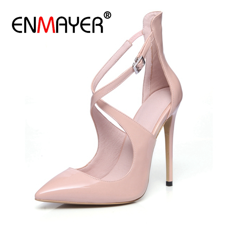 ENMAYER Large Size 33-43 Brand Design Customize Thin High Heel Sandals Summer Shoes Woman Sexy Party Women Shoes 4 color CR180 doratasia 2018 large size 33 43 brand design fur summer women shoes sandals sexy platform thin high heels party shoes woman