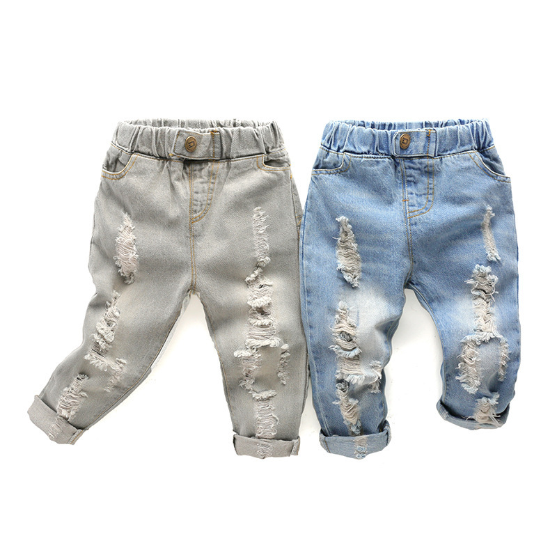 New Baby Denim Pants Cotton Ripped Hole Boys Jeans Autumn 2-8 Y Children's Clothing Casual Girls Jeans Fashion Kids Trousers high quality mens jeans ripped colorful printed demin pants slim fit straight casual classic hip hop trousers ripped streetwear