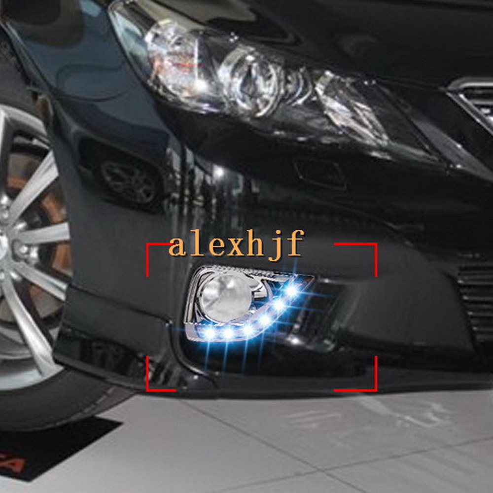 July King LED Daytime Running Lights DRL with Fog Lamp Cover, LED Fog Lamp Case for Toyota Mark X Reiz 2011~13, 1:1 Replacement july king led daytime running lights drl with fog lamp cover led fog lamp case for lander rover freelander ii 2011 13 1 1