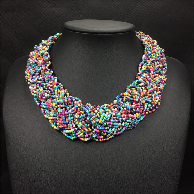 f156ef8267bc Acrílico perlas De Bohemia Collar para mujer gargantilla Collares De moda  hechos a mano con cuentas Strand joyas Boho Collares De Acrilico -  a.dedede.me