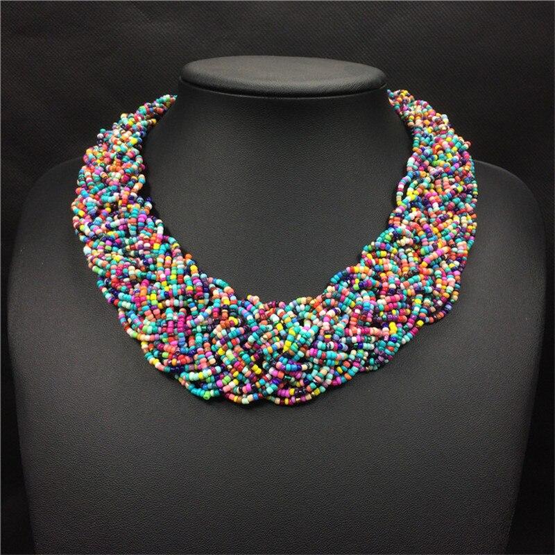 Akrila pērles Bohēmijas kaklarota sieviešu plaša kaklasaite - Modes rotaslietas