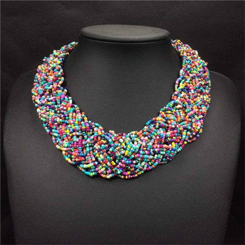 Duftgold Weave Acrylic Beads Bohemian Necklace Wide Choker Ns