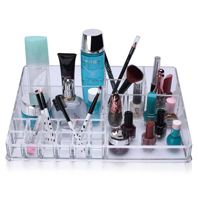 Professional Acrylic Clear Makeup Organizer Cosmetic Lipstick Brush Drawer  Display Jewelry Storage Container Stand Holders Shelf