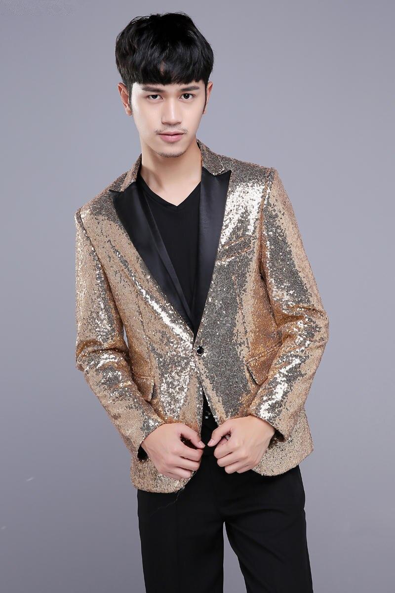 Kostumet e xhaketave për meshkuj të artë Këngëtarja Dancer - Veshje për meshkuj - Foto 2