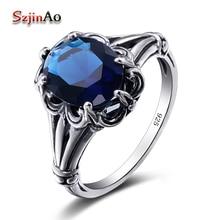 Szjinao Лидер продаж anillos де Плата очарование кольцо Skyrim Настоящее Твердые 925 стерлингов Серебряные ювелирные изделия Винтаж синий кристалл Кольца для Для женщин