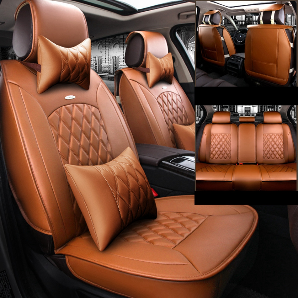Luxury PU Leather Car Seat Covers For Mitsubishi Pajero Outlander ASX Lancer-EX Zinger Fortis Galant Cross Endeavor L200 COLOLT