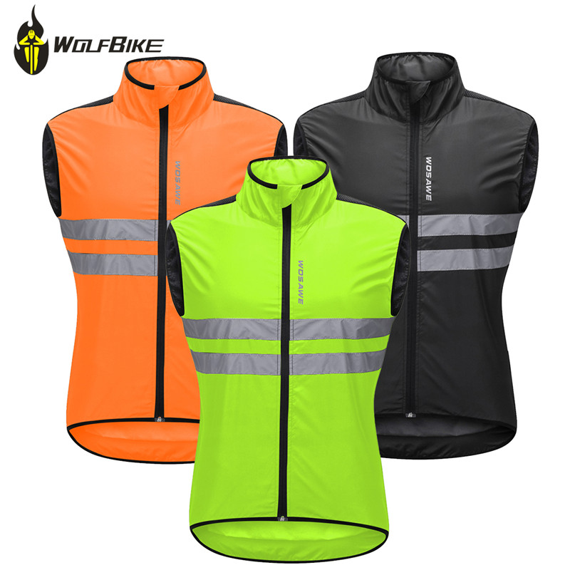 WOSAWE High Visibility Outdoor Sports Vest 3 Color Windproof Waterproof Mtb Bike Bicycle Reflective Sleeveless Cycling Waistcoat