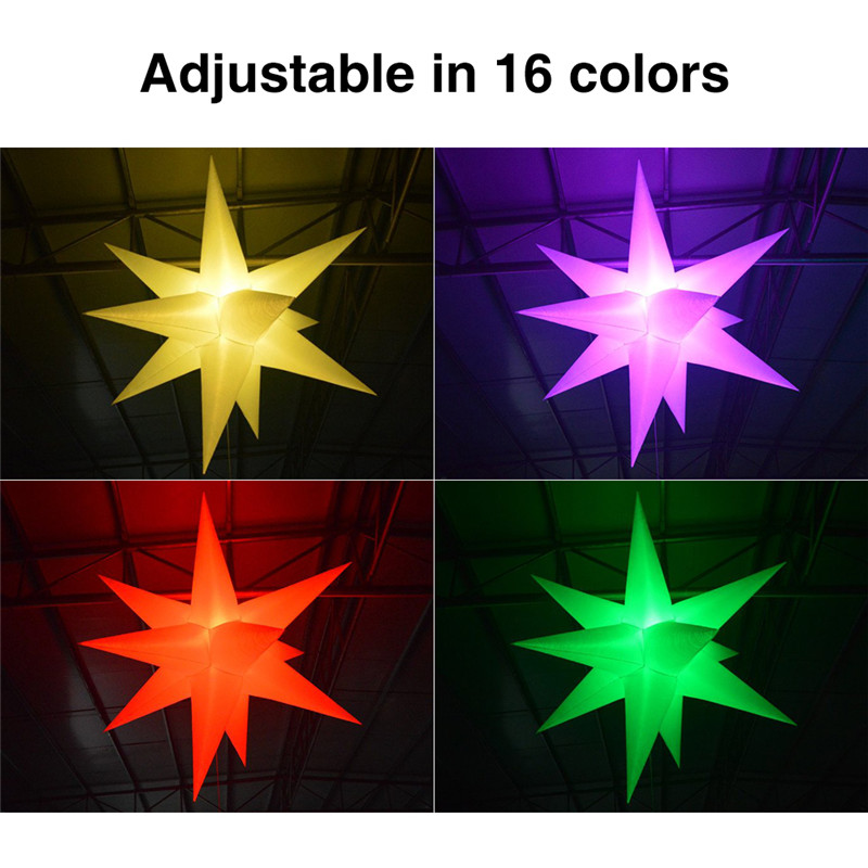 2M Inflatable Star LED Light 16 Colors Changing with LED Light and Inner Blower for Sky