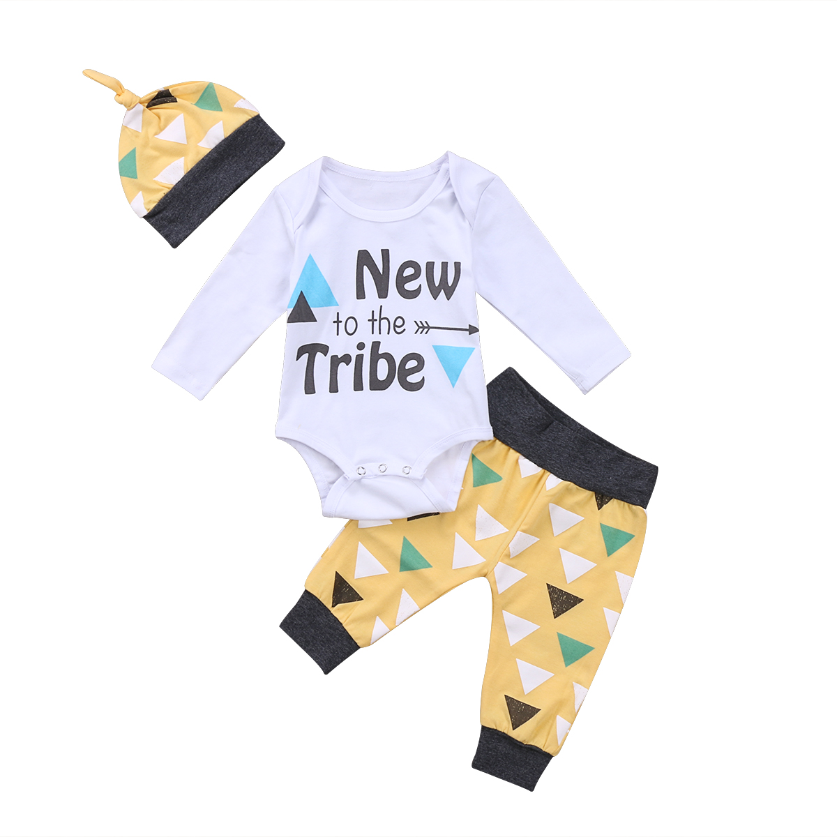 3Pcs Hot Fashion Newborn Infant Baby Boys Letter Bodysuit Triangle Patterns Long Pants Hat Outfits Clothes Set