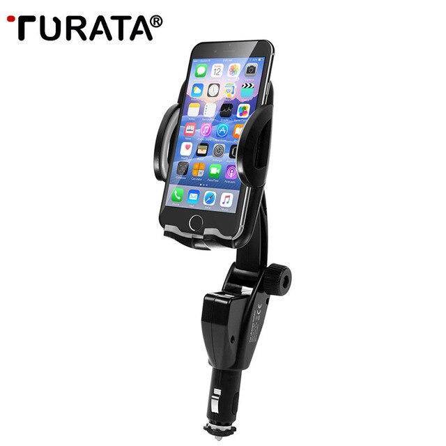 TURATA Stand מחזיק טלפון אוניברסלי לרכב לשקע מצית רכב הר מטען 5 V/3A 2 יציאות USB עבור iPhone X חכם טלפון