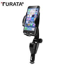 Turata العالمي هاتف السيارة حامل حامل مقبس ولاعة السجائر سيارة جبل شاحن 5 فولت/3a 2 منافذ usb للآيفون x الذكية الهاتف