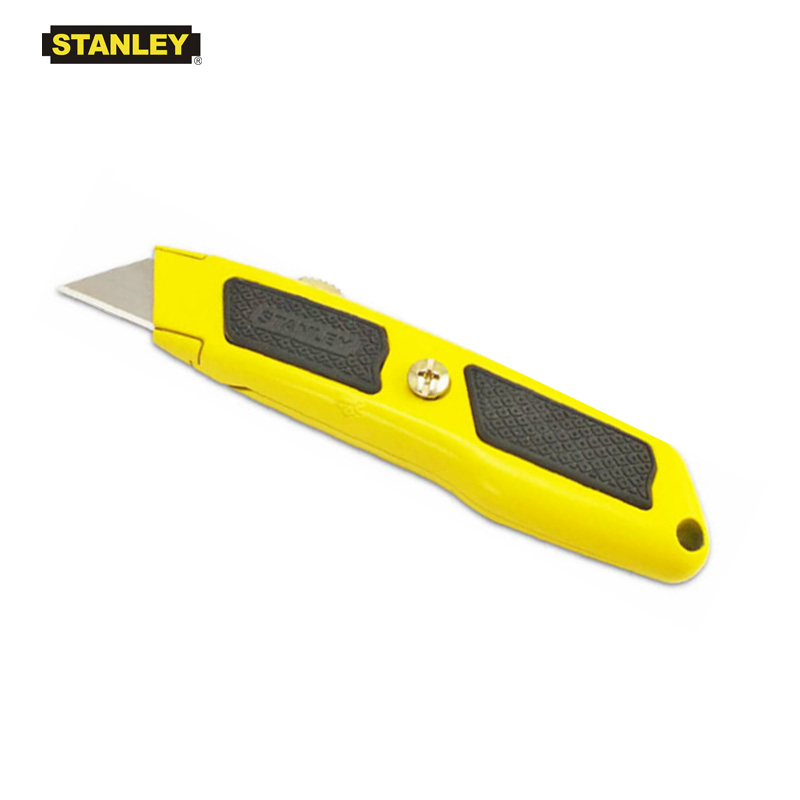 """Stanley 10 779 Dynagrip Retractable knife metal body with rubber cushion grip fixed blade utility knife length 5 5/8"""" yellow