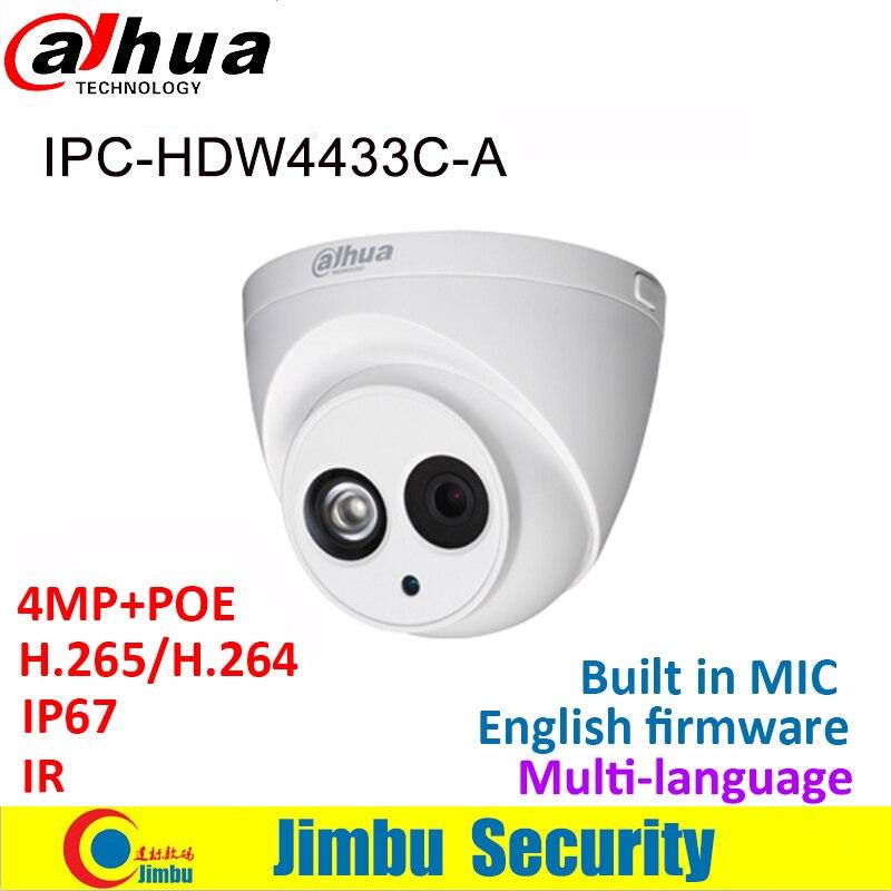 Dahua IP Camera 4MP IPC HDW4433C A IR30 Mini Camera POE starlight H265 H264 Built in