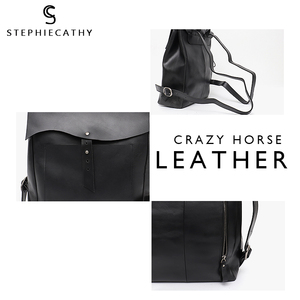 Image 4 - SC Women Italian Leather Backpack Vintage Retro Style Flap Buckle Large Shoulder Bags School Life Travel Holiday Knapsacks